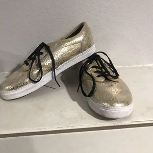 Girls Gold Vans